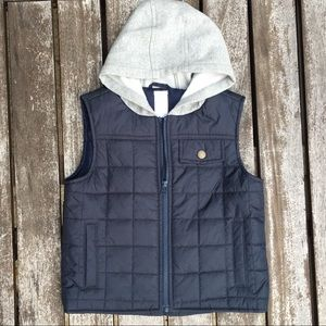 XS (3-4) Gymboree Navy & Gray Hooded Puffer Vest
